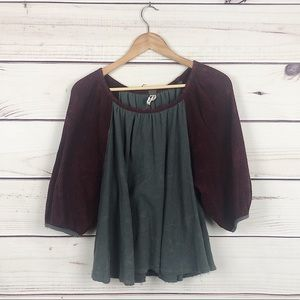 Free People Waffle Knit Maroon & Gray 3/4 Sleeve